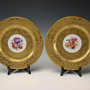 Art Nouveau Hutschenreuther German Porcelain AOG Super Gilt Gold Plates c1905