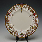 Great Victorian Cauldon Ltd China English Porcelain Hand Painted Gilt Dinner Plate 10 1/2""