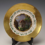 Antique KPM German Porcelain Hand Painted and Gilt Plate c1845
