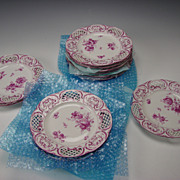 Antique KPM German Porcelain Porzellan Reticulated Hand Painted Plate Set of 12