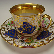 Antique F&B Flight Barr English Worcester Porcelain 18c Gilt Cup Saucer