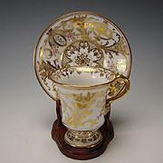 GREAT Antique Dresden Hand Painted Gilt Porcelain Porzellan Cup Saucer c1900