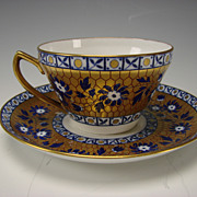 Antique Wedgwood China Cobalt Blue Gold Cup Saucer Elegant Victorian