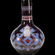 "Antique Bohemian Czech Amethyst Poschinger Enamel Art Glass Vase BIG 13"""