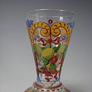 Antique Bohemian Lobmeyr Harrach Bold Bright Enamel Glass Cordial Apertif Shot Stem