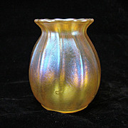 Antique Tiffany Iridescent Aurene Miniature Glass Vase