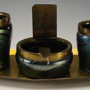 Art Nouveau Loetz Iridescent Feathered Glass Smoking Set 4 PC