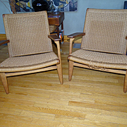 Fine Modern Hans Wegner Rope Woven Chair Pair ch25 for Carl Hansen