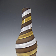Vintage Scandanavian Swedish Modern Striped Swirled Pottery Vase