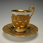 Antique Meissen Porcelain Gothic Gilt Decorated Cup and Saucer