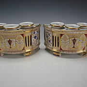 Antique French Empire Paris Porcelain Bough Pots Planter Vase Pair c1835