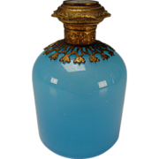 Antique Blue Opaline French Art Glass Palais Royal Perfume Scent Bottle