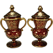 Antique Bohemian Moser Gilt Cranberry Ruby Lidded Glass Urns Vases Pair Persian