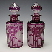 Art Deco Cristal Nancy France Cased Cut Amethyst to Clear Cameo Glass Perfume Bottle Pair