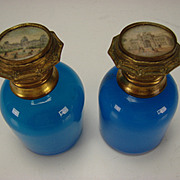 Antique French Palais Royal Blue Opaline Scent Perfume Bottle Pair