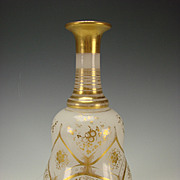 Antique French Baccarat Elegant Gilt Opaline Glass Bottle Decanter c1850