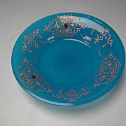 Antique Bohemian Moser Enamel Jeweled Blue Opaline Persian Glass Plate/Bowl