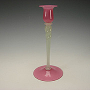 Antique Steuben Carder Rosaline and Alabaster Rope Twist Candlestick c1920