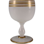 Antique French Opaline St Louis/Baccarat Elegant Gilt Wine Glass Stem c1870