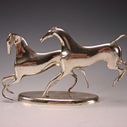 Art Deco Horses Playing Chrome Sculpture Karl Hagenauer Vienna Austria c1930
