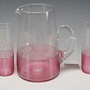 Great Boston Sandwich Threaded Engraved Ivy Leaves Lemonade Glass Set Pitcher/Tumblers