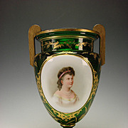 FINE Antique Moser Bohemian Emerald Green Glass Gilt Handled Portrait Glass Vase Urn
