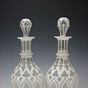 "FANTASTIC Antique Boston Sandwich Cased and Cut Gothic Glass 13"" Decanters Pair"