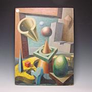 Armand Szainer Regionalist Modernist Cubist Geometric Oil Painting