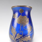 Art Nouveau Silver Overlay Bohemian Fritz Heckert or Adolf Zasche Glass Vase