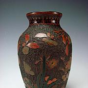 Antique Japanese Meiji Tree Bark Enamel Cloisonne on Porcelain Vase