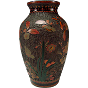 Antique Japanese Meiji Tree Bark Enamel Cloisonne on Porcelain Vase