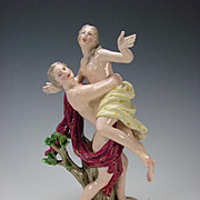 Antique Meissen Figurine Porcelain Group Rape of Diana