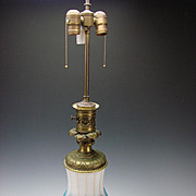 Antique Bohemian Moser Parcel Gilt Blue Opaline & Cut Figural Alabaster Glass on Bronze Ormolu Mounted Table Lamp c1870