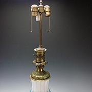 Antique Bohemian Moser Parcel Gilt Blue Opaline & Cut Figural Alabaster Glass on Bronze Ormolu Mounted Table Lamp c1870