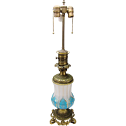 Antique Bohemian Moser Parcel Gilt Blue Opaline & Cut Alabaster Glass on Bronze Ormolu Mounted Table Lamp c1870