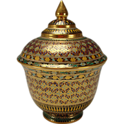 Fabulous Enameled and Gilt Porcelain Lidded Jar Persian Moorish Style 20c