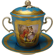 Great Antique French Sevres Porcelain Handled Lidded Chocolate Coffee Cup