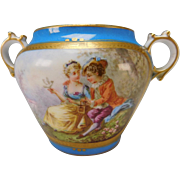 Antique Sevres Style Hand Painted Lovers Portrait Sugar Bowl 19c
