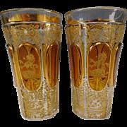 Antique Moser Bohemian Glass Armorial Tumbler Pair