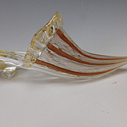 Vintage Zanfirico Murano Latticino Cased Glass Slipper Shoe c1960