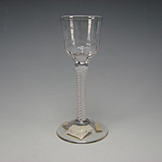 Great Antique English Cotton Twist Spiral Latticino Stem Wine Glass Cordial Stem