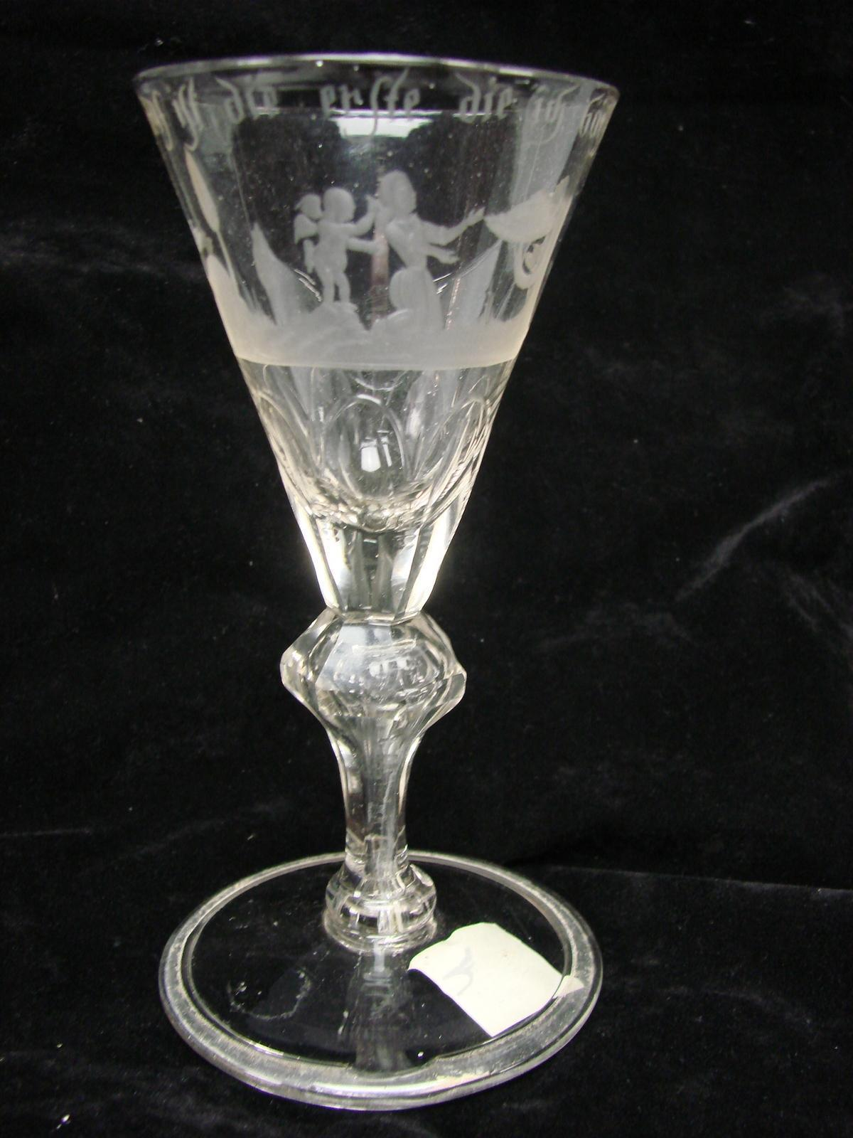 antique c1775 german etched engraved wine glass stem from