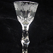 Antique 18c English Georgian Engraved Rim Wine Glass Stem