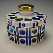 Antique Bohemian Triple Cased Blue on White and Clear Glass Lidded Bowl/Jar c1910