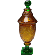 Fantastic Early 19c Bohemian Amber Cut on Green Cut Knop and Base c1810