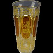 Antique Moser Enameled Heraldic Lion Passant Decorated Glass Tumbler