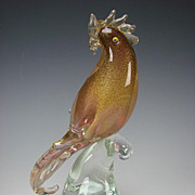 Murano Venetian Italian Cranberry Glass Tall Bird Figurine on Base