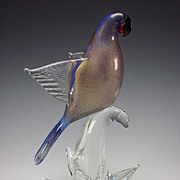 Oggetti Parrot Bird on Branch Glass Figurine Sculpture Cased Blue and Gold Flecks