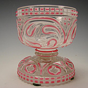 Antique Bohemian Moser Pink and White Cut to Clear Ornate Footed Glass Bowl