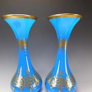 HUGE Antique Baccarat Napoleon III Post Empire Blue Opaline Glass Gilt Vases Pair